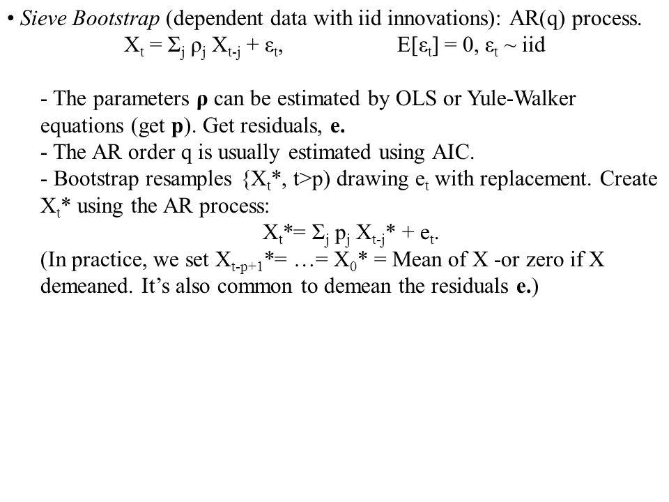 Xt = Σj ρj Xt-j + εt, E[εt] = 0, εt ~ iid